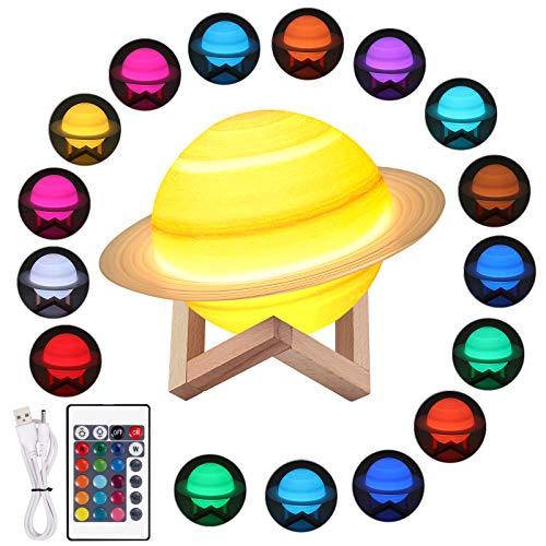 Justech Saturn Lampe 3D Mondlampe 16 Farben 4 Modi Nachtlicht USB wiederaufladbare Dimmbar Mondlicht mit Touch, Fernbedienung und Klappensteuerung