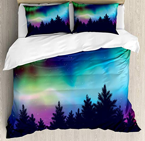 Lplpol Aurora Borealis Duvet Cover Set, Famous Colorful Northern Sky with Pine Tree Forest Silhouettes Graphic Bedding Set Comforter Cover 3-Piece Quilt Set with Zipper Closure, Twin Size