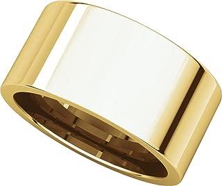 Men's 14K Yellow Gold 10mm Flat Comfort Fit Wedding Band Ring