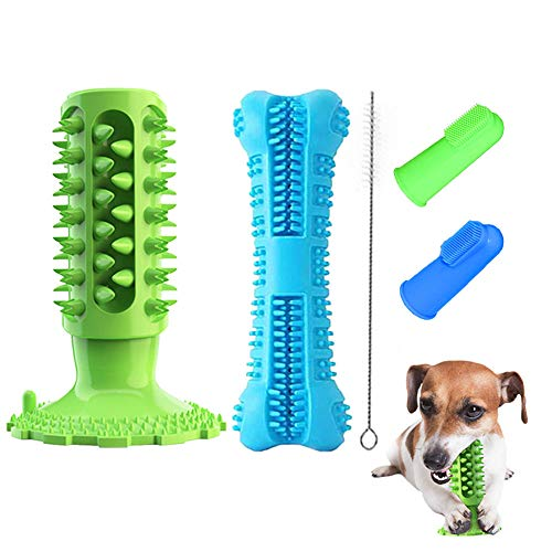 Dog Toothbrush Chew Toys Set - 2 Pcs Squeaky Dog Toothbrushes Stick Bone Toy for Small Medium Large Breed Pet Dogs Puppy for Dental Oral Care Teeth Cleaner Self-Brushing Self-Cleaning with Toothpaste