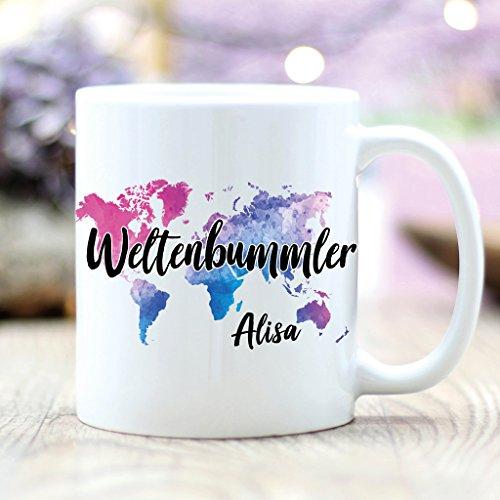 Wandtattoo-Loft Keramik Tasse Weltenbummler mit Weltkarte und Wunschnamen – Kaffeetasse - spülmaschinenfest - hochglänzende Oberfläche