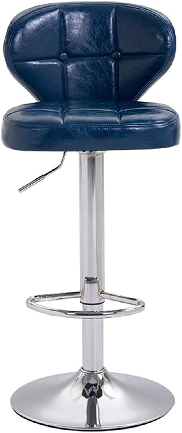 ZUOANCHEN Bar Stools Shell Style Modern Pu Leather Swivel Adjustable 60-80CM Hydraulic Bar Stool Counter Height Stool Hotel High Stool (Set of 2) (color   bluee, Size   One)