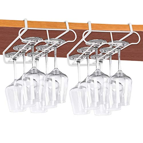 Wine Glass Holder No Drilling 2 Rows Stemware Rack Metal Wine Glasses Organizer Wine Glass Rack Under Cabinet Shelf Fit for Bar Kitchen 2 Pack (White)