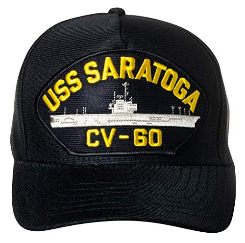 Artisan Owl US Navy USS Saratoga CV-60 Supercarrier Emblem Patch Hat Navy Blue Baseball Cap