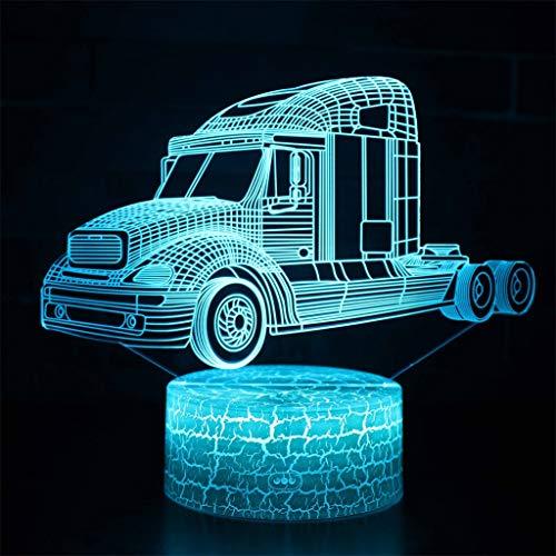 Lampe de nuit décorative à LED/DEL 3D, Camions Kenworth, 7 variations de couleurs, Crack Base, Touche/Télécommande, Meilleur cadeau pour enfants, Panneau acrylique, Base ABS