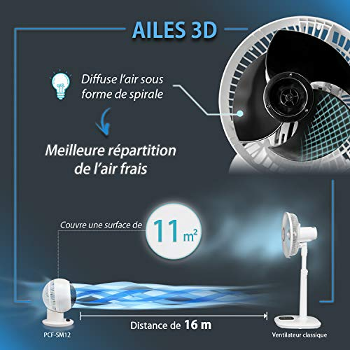 Iris Ohyama, Ventilateur Silencieux, Oscillant et Compact - Woozoo - PCF-SM12, blanc, 18 W, 11 m²