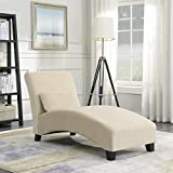 Belleze Chaise Lounge Living Room Chair Indoor Contemporary Furniture Design with Hardwood Legs Sofa Couch, Beige