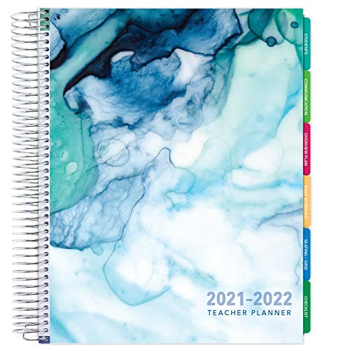 Deluxe 2021-2022 Dated Teacher Planner: 8.5'x11' Includes 7 Periods, Page Tabs, Bookmark, Planning Stickers, Pocket Folder Daily Weekly Monthly Planner Yearly Agenda (Seaside Watercolor)