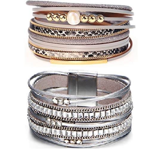 Suyi Multilayer Leather Bracelet Set 2 Pieces Beads Wrap Bracelet Wrist Cuff Bangles with Magnetic Buckle for Women (Leopard5)