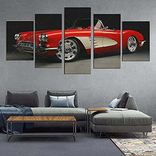 Cuadro en Lienzo 5 Piezas Impresión Coche clásico 1960 Corvette XXL Impresión Artística 5 Piezas Lienzo de Tejido no Tejido Estampado Decoración de Pared Aislamiento