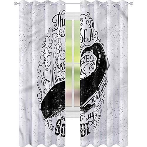 Cortinas opacas para dormitorio, ballena brisa es perfume a mi alma, 52 x 63, cortinas decorativas para sala de estar