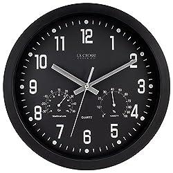 La Crosse 404-2631 12 Black Analog Clock with Temp & Humidity