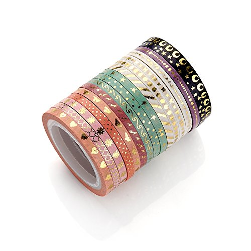 AGU Foil Gold Skinny Washi Tape DIY Japanese Masking Tape Supplies Set of 16