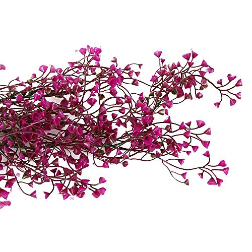 Artificial Hanging Vine Plants, Pack of 2 Pieces Artificial Ivy Fake Flowers Greenery Plants for Home Garden Wall Decoration, Rose Red Silk Flower Arrangements