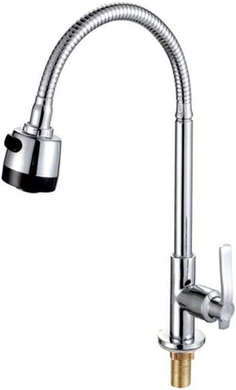 Chrome Kitchen Sink Taptaps Mixer Swivel Faucet Sink Single Cooling Kitchen Faucet Single Cooling Vegetable Washing Pool Faucet Laundry Pool Universal redary Faucet