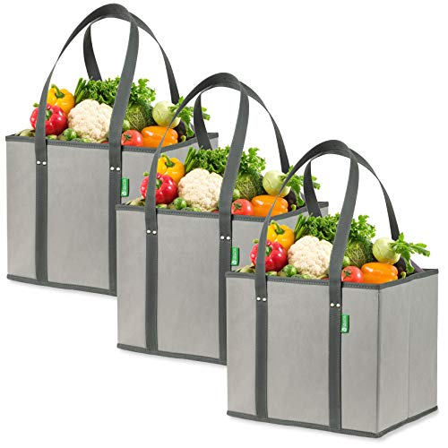 Reusable Grocery Shopping Box Bags 3 Pack  Gray Large Premium Quality Heavy Duty Tote Bag Set with Extra Long Handles amp Reinforced Bottom Foldable Collapsible Durable and Eco Friendly