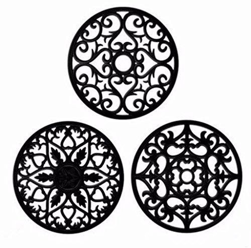 Lot de 3 Dessous de Plat Noir en Silicone - Tapis Silicone Polyvalent Résistant à la Chaleur