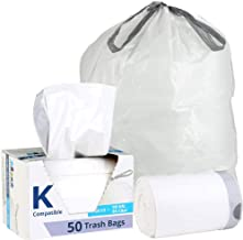"""Plasticplace Custom Fit Trash Bags │ Simplehuman Code K Compatible (50 Count) │ White Drawstring Garbage Liners 10 Gallon / 38 Liter │ 24.4"""" x 28"""""""