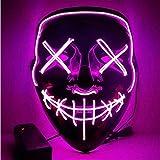 Foneso LED Maske DJ Masken mit 3 Blitzmodi für Halloween Fasching Karneval Party Kostüm Cosplay Dekoration (Lila)
