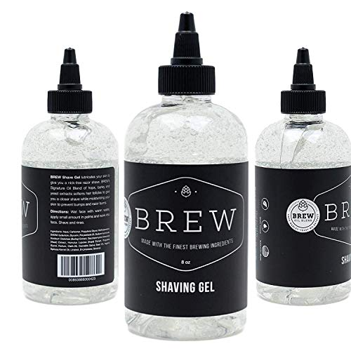 Beard Shave Gel by BREW Grooming - Clear Gel for Perfect Edging & Smooth Shaving - Made With Hops, Barley, Yeast Oil - Reduces Razor Irritation, Cuts & Knicks - Moisturizes, Cleans, Softens - 8 fl oz