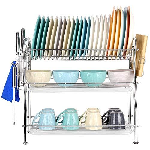 Liheya - Bandeja para vajilla de 3 niveles con bandeja extraíble y soporte para utensilios, de acero inoxidable 304 para utensilios de cocina