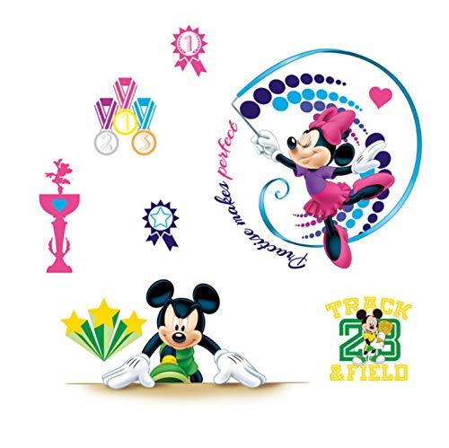 Disney Mickey Minnie Gymnastique Sport Stickers Muraux Chambre Chambre D'Enfant Décorations Pour La Maison Bande Dessinée Stickers Muraux Pvc Murale Affiches D'Art 40X60Cm