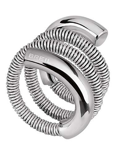 Breil Gioiello Collezione New Snake Steel, Anello da Donna in Acciaio Colore Silver Misura 17CM - TJ2870