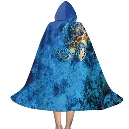 Amanda Walter Capa para nios Capa con Capucha Tortuga Marina en Aguas de Color Azul Profundo Capa Unisex con Capucha Capa de Bruja Capa Larga Capa de Fiesta de Cosplay de Halloween