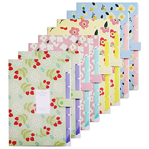 Bekith 8 PackExpanding File Folder, Letter A4 Paper Accordion Document Organizerwith 5 Pockets