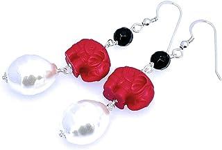 Pendientes de perlas barrocas blancas, cinabrio rojo y agata negra, plata 925, joyas estilo oriental, regalo para mujer, h...