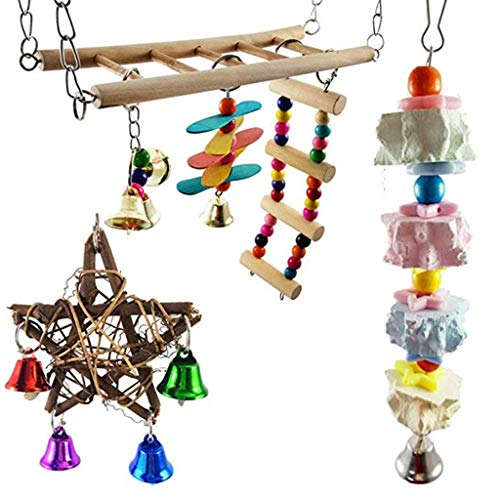 Yyooo 1 Set Bird Parrot Swing Chew Toys Pet Cage Hanging Hammock Pentagram with Bells