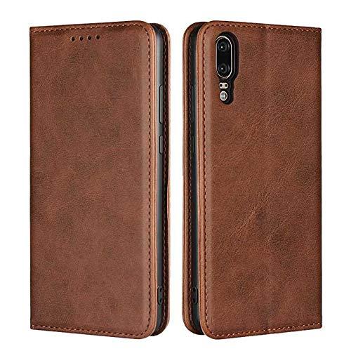 Coque Huawei P20, SONWO Premium PU Cuir Rabat Portefeuille de Protection Coque avec Fonction Support et Fente pour Carte pour Huawei P20, Brown