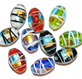 G2583 Assorted Color Lampwork Glass w Foil &amp Drizzle 16mm Oval Barrel Beads 10pc Crafting Key Chain...