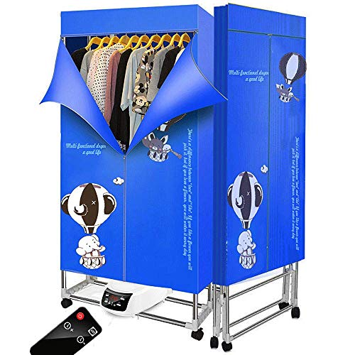 KOFOHON Clothes Dryer 110v-240v Foldable Electric Portable Household Folding-Dry Machine with Remote Control Adjustable Timer Low Noise for Home,Laundry,Apartment 1500W (Blue-Elephant)