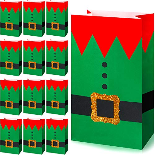 30 Pieces Paper Christmas Elves Suit Print Treat Bags Xmas Party Bags Elf Candy Goodies Bags for Winter Holiday Christmas Party Favors, 8.3 x 4.7 x 3.1 Inches