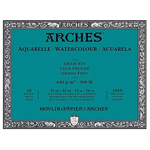 Arches Watercolor Block 12''x16'', 300lb Cold Press, 10 Sheets