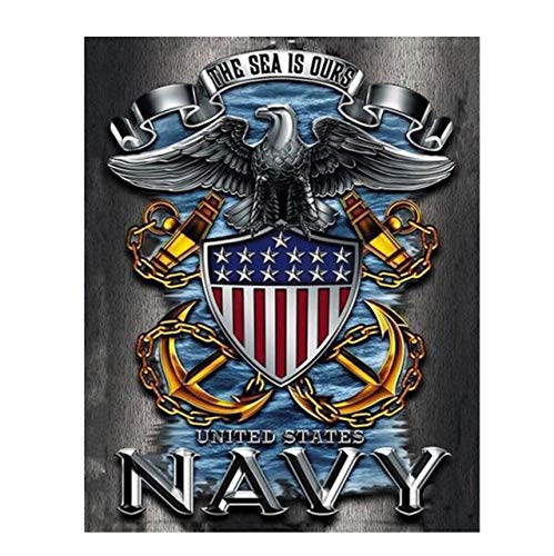 U.S. Navy Eagle Emblem Poster Print-8 x 10'- Naval Wall Art Prints-Ready To Frame.'The Sea is Ours' with Eagle, Anchors & Flag. Home-Office-Military Decor. Great Gift to Display Naval Military Pride!