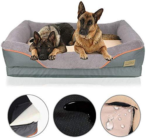 BingoPaw Cama de Espuma Viscoelástica para Perros Grandes 105 x 85 x 23cm Colchoneta Cómoda para Mascotas Suave Sofá para Perros Impermeable y Lavable