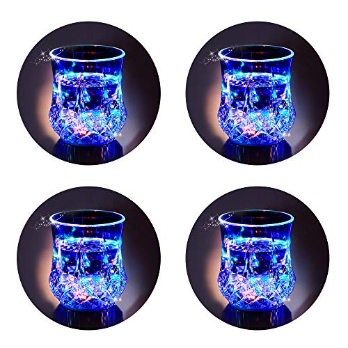 LED Cups 2win2buy 4 PACK Flashing Light up Automatic Water Activated Color Changing Wine Whisky Beer Cola Juice Drinkware Mugs Shot Glass for Bar Disco Night Club Party Halloween Christmas, Set of 4