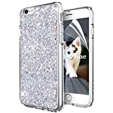 OKZone Funda iPhone 6S Carcasa Purpurina,Funda iPhone 6, Cárcasa Brilla Glitter Brillante TPU Silicona Teléfono Smartphone Funda Móvil Case para Apple iPhone 6/iPhone 6S 4,7' (Plata)