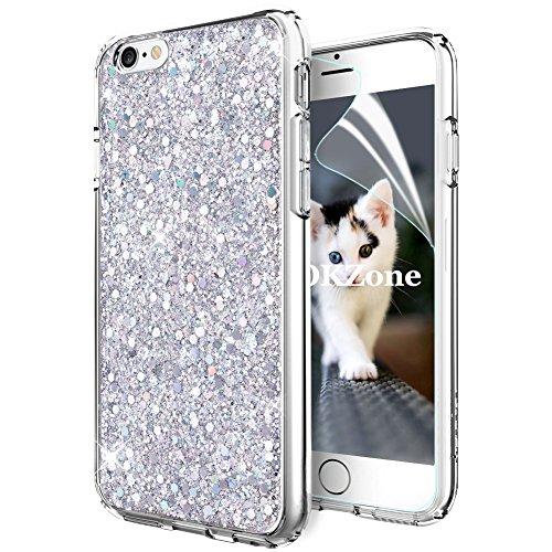 OKZone Cover iPhone 6S,Custodia iPhone 6 Custodia Lucciante con Brillantini Glitters Ultra Sottile Designer Case Cover per Apple iPhone 6 / iPhone 6S 4.7 Pollici (Argento)