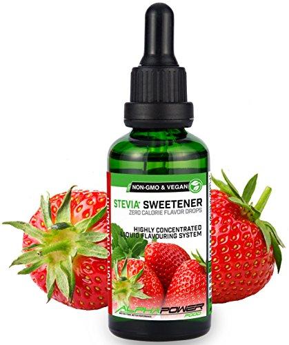 ALPHAPOWER FOOD: Stevia liquida, (1 x50ml Gusto fragole fruttate) Gusto liquido, Gocce aromatizzanti e dolcificante senza zucchero sostituto dello zucchero & calorie, dolcificante naturale, vegano