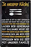 Blechschilder Cartel decorativo de metal con texto en alemán 'In unserer Küch.', 20...