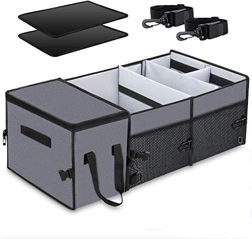 X-cosrack Auto Kofferraumtasche mit Kühltasche Kühlbox, Organizer Auto - Kofferraum Falttasche Einkaufstasche Autotasche Autobox Autokofferraumtasche Klettbefestigung Kofferraum-Organizer Grau