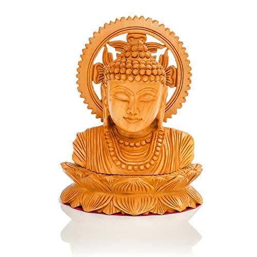 CKHandicrafts Buddha Bust on Leaf Wooden Handmade Fine Carved 5 Inch Buddha Bust Statue