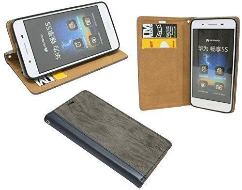 ENERGMiX Buchtasche kompatibel mit Huawei GR3 Hülle Case Tasche Wallet BookStyle mit Standfunktion in Anthrazit