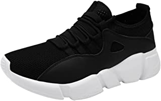 AIMTOPPY Men Solid Cross Tied Round Toe Mesh Gym Shoes Running Shoes Casual Shoes (US:7.5, White)