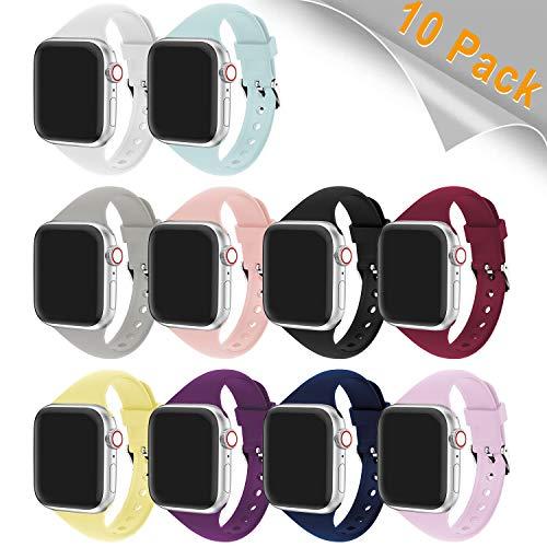 Supore Compatibile con Cinturino Apple Watch 38mm 40mm 42mm 44mm, Cinturino Morbido di Ricambio Sport in Silicone per iWatch Series 4/3/2/1, 10 Pack, 42mm/44mm