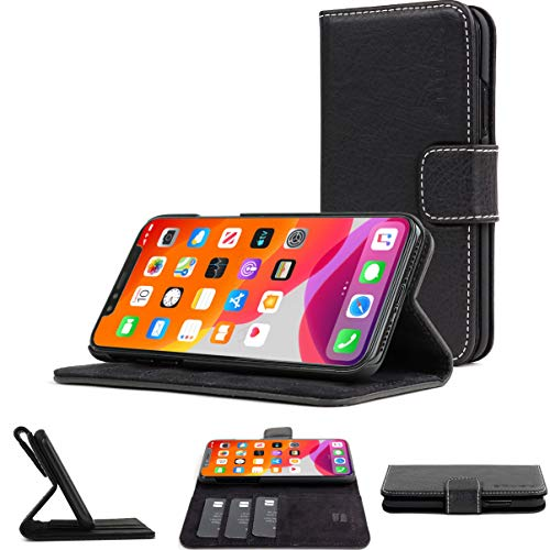 Snugg iPhone 12 Pro Max Wallet Case – Leather Card Case Wallet with Handy Stand Feature – Legacy Series Flip Phone Case Cover in Blackest Black