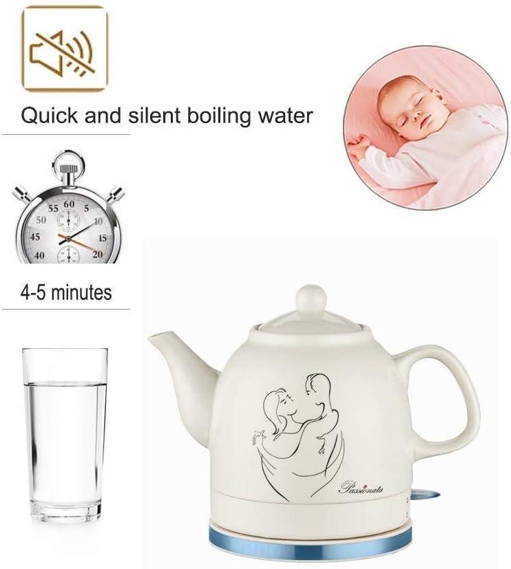 Bouilloire électrique sans Fil en céramique théière - Cruche rétro 1,2 L, Eau Rapide de 1200 W pour thé, café, Soupe Rapide (Couleur: B) A